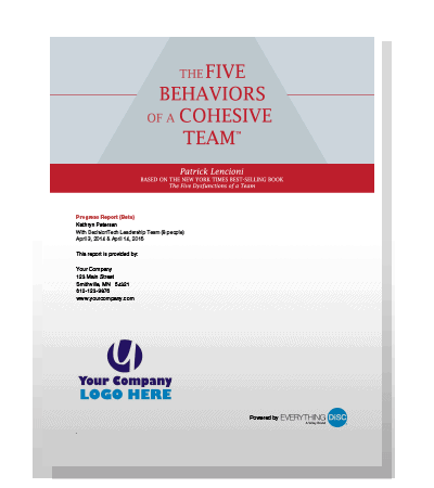The Five Behaviors of a Cohesive Team - Powered by Everything DiSC Progress Report