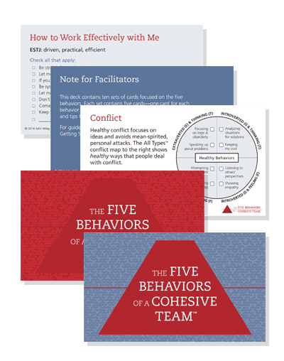 The Five Behaviors of a Cohesive Team - Powered by All Types - Take Away Cards