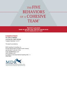 The FIVE BEHAVIORS OF A COHESIVE TEAM™ Comparison Report Sample