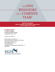 The Five Behaviors of a Cohesive Team™ Comparison Report