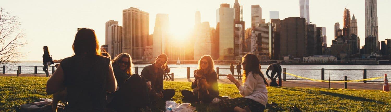 People having picnic at city park