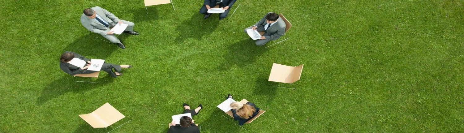 Business People having meetings outdoors