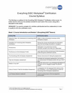 Everything DiSC Workplace Certification Syllabus