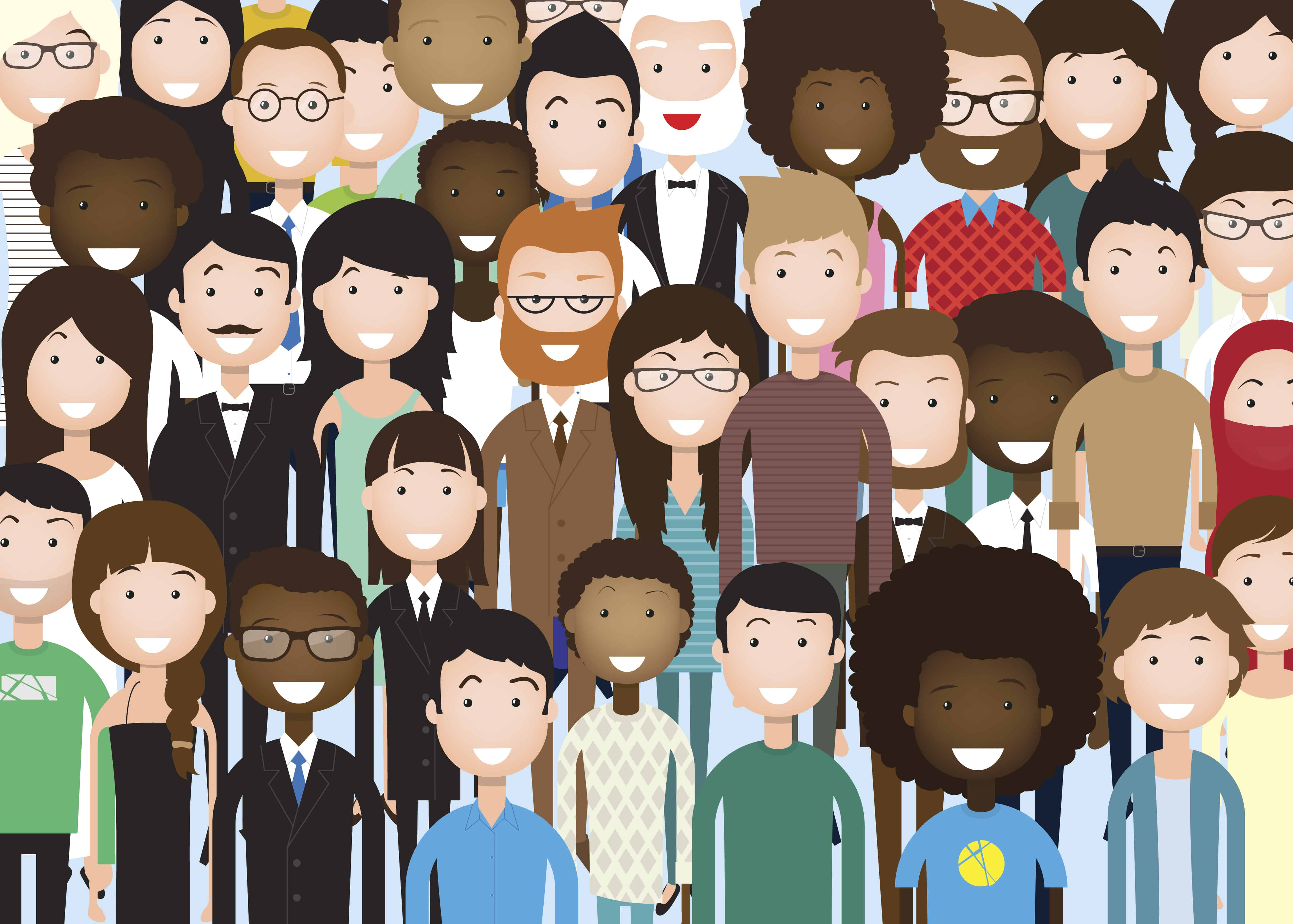 Group of Business People Cartoon