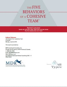 The Five Behaviors of a Cohesive Team™ Profile Sample - All Types