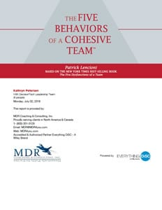 The Five Behaviors of a Cohesive Team™ Profile Sample