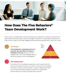 The Five Behaviors Team Development eBrochure